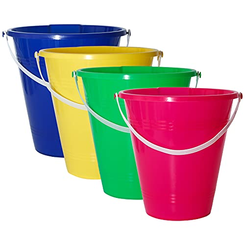 Holady 9 Inch Large Sand Beach Buckets Pail ,Sand Bucket Water Bucket for Beach Fun Great Summer Party Accessory(4 Pack)