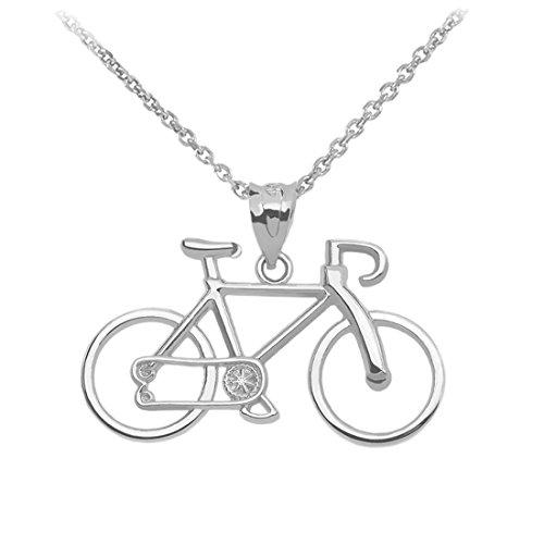 925 Sterling Silber Fahrrad Damen Anhänger Halskette (Kommt mit eine 45 cm kette)