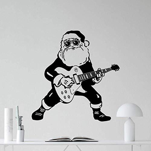 Muursticker Kerstman Calus Spelen De Gitaar Speciale Creatieve Kerst Thuis Kamer Cool Decor Mural Rock Santa Calus Leuke Decal 57X57Cm