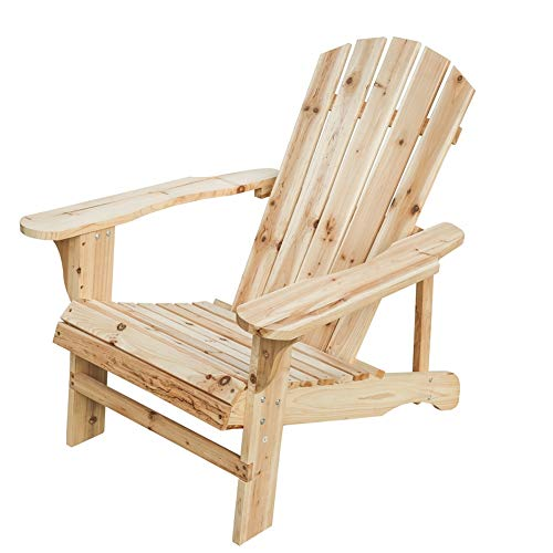 LOKATSE HOME Outdoor Pario Garden Wood Adirondack Chair Large Natural
