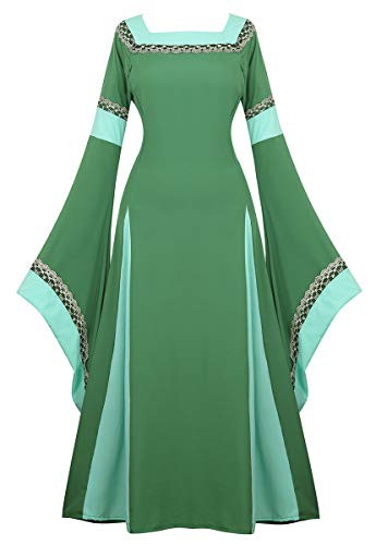 frawirshau Renaissance Costume Women Green Renaissance Dress Ren Faire Costumes Women, Green, Large