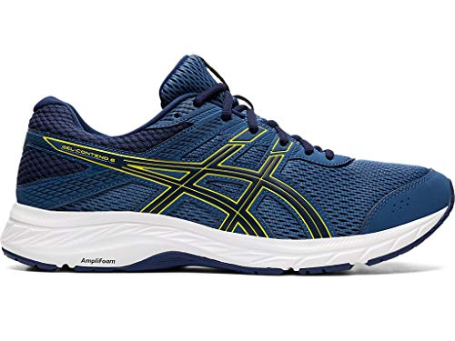 ASICS Men's Gel-Contend 6 Running Shoes, 11M, Grand Shark/Vibrant Yellow