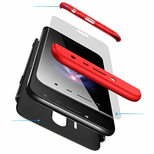 Jtailhne Compatible con Funda Samsung Galaxy J4 2018, 360° 3 in 1 Slim Hard PC Carcasa Anti-Scratch, a Prueba de Choque Full-Protección Case Rojo Negro & 2X Cristal Templado