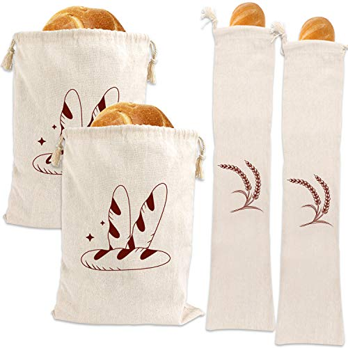 4 Packs Linen Bread Bags Ideal for Homemade Bread, Unbleached, Reusable Bread Storage Bakery & Baguette(2-12.5 X 16 In, 2-27 X 6 In)