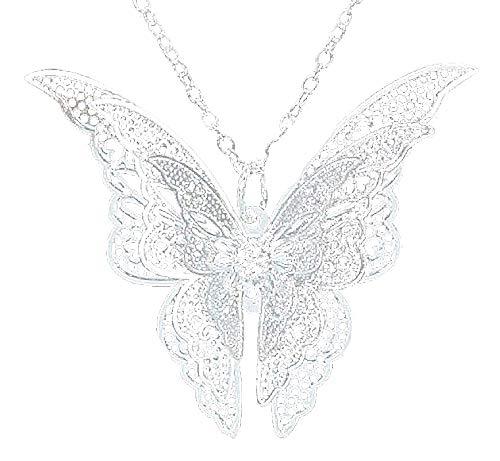 Vlinderketting - vlinder - vrouw - elegant - meisje - vleugels - 3d effect - origineel cadeau-idee - verjaardag - kerstmis - sieraden - sierraden - zilver