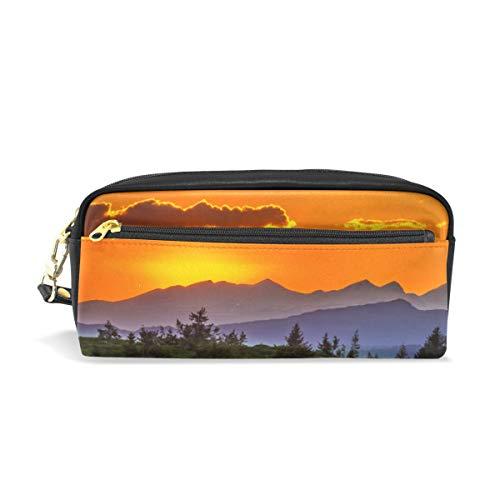 Sunset Mountain Landscape Nature - Estuche para lápices con compartimentos para estudiantes, mujeres, cosméticos, piel, color negro
