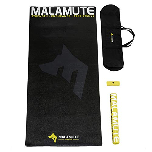 """Malamute Sports Large 78"""" x 36"""" Indoor Bike Mat Cycling Mat Kit for Bike Trainer, Rollers, Spin Bike, Exercise Stationary Bike. Kit Includes Indoor Mat, Carry/Storage Bag, Towel and Headband"""