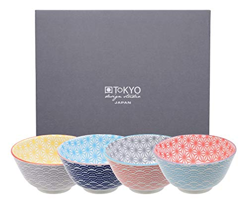 TOKYO design studio Star Wave 4-er Schalen-Set bunt, Ø 12 cm, ca. 300 ml, asiatisches Porzellan, Japanisches Design mit bunten Mustern, inkl. Geschenk-Verpackung