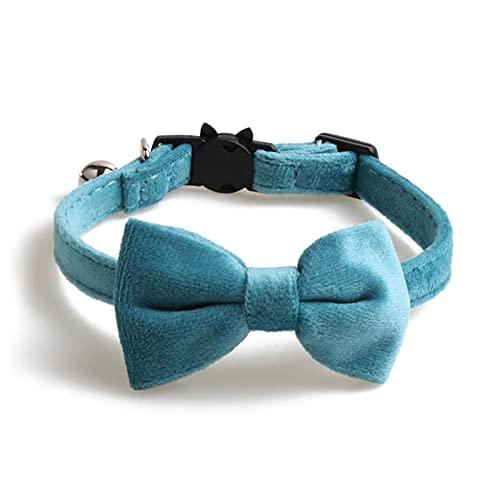 JHGJHG Color sólido Bowknot Velvet Cat Collar Accesorios para Mascotas Collares de Cachorros con Accesorios de Campana Hebilla de Seguridad Ajustable (Color : G436413, Size : 1.0x28cm)