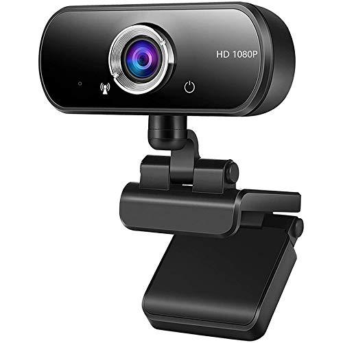 Kdely Webcam PC Full HD 1080P con Micrófono Estéreo, USB Cámara Web Portátil con Reducción de Ruido Diseño Plegable Plug & Play para Videollamadas Grabación Conferencias Compatible