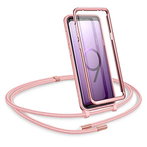 SURITCH Funda con Cuerda para Samsung Galaxy S9 Plus, Carcasa TPU Silicona Case con Protector de Pantalla con Colgante Ajustable Collar Correa de Cuello Cordón con Samsung Galaxy S9 Plus (Oro Rosa)