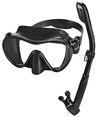 Cressi Italian Boutique Collection - Tempered Glass Lens Frameless Scuba Snorkeling Dive Mask - Splash Guard Dry Snorkel Set, All Black (PAQFMSC-ABK-PP_VE)
