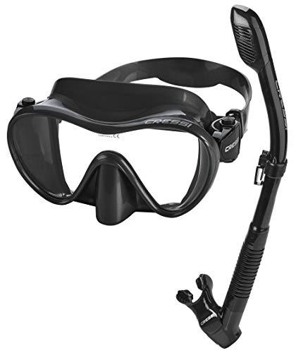 Cressi Frameless Snorkeling Dive Mask – Splash Guard Dry Snorkel Set, All Black