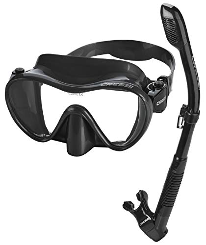 Cressi Italian Boutique Collection - Tempered Glass Lens Frameless Scuba Snorkeling Dive Mask - Splash Guard Dry Snorkel Set, All Black (PAQFMSC-ABK-PP_VE)