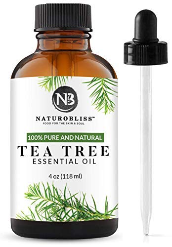 NaturoBliss 100% Pure, Tea Tree Essential Oil - (4 Fl Oz / 120 ml) -Undiluted Tea Tree Essential Oil, Therapeutic Grade - Perfect for Hair Growth, Scalp Dandruff, Acne, Aromatherapy and Relaxation
