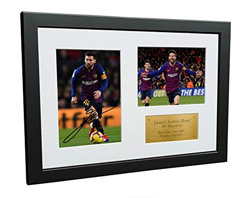 Kitbags & Lockers 12x8 FC Lionel Messi Barcelona Signed Autographed Photo Photograph Picture Frame Soccer Gift A4