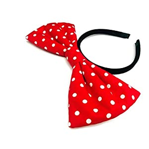Oversize Big Bow Headband: H2 (Pink Dot)