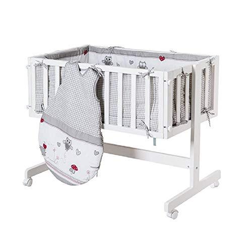roba Berceau cododo 'Room & Cradle', bois laqué en blanc, utilisable comme cododo et comme berceau avec roulettes, matelas inclus, avec tour de lit et gigoteuse 70cm de la collection 'Adam&Owl'.