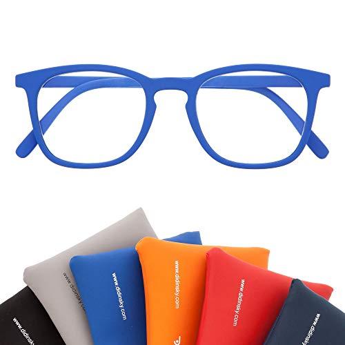 Blaulichtfilter Brille für Damen und Herren. Blaufilter Brille mit stärke oder ohne sehstärke für Gaming oder Pc. Gummi-Touch-Tempel und Blendschutzgläser. Klein +1.0 – TATE