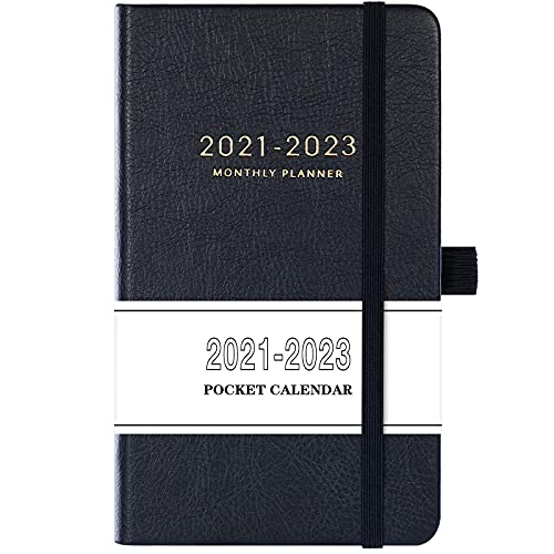 """2021-2023 Pocket Calendar - Monthly Pocket Planner (36-Month) with 63 Notes Pages, 3.8"""" x 6.3"""", 3 Year Monthly Planner with Contacts, Holidays and Pen Holder, Back Pocket with Thick Paper - Black"""