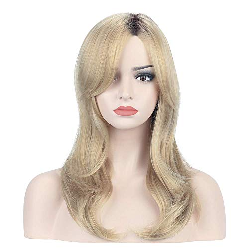 YOPO Blonde Wavy Wig Ombre Brown to Blonde Mixed Color 20'' Shoulder Length Natural Hair Wigs Long Shaggy Flaxen Wig with Bangs for Women