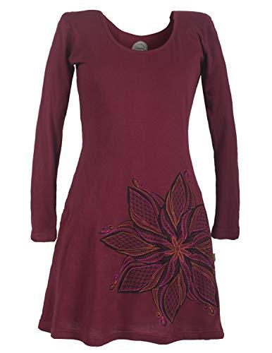 Vishes - Alternative Bekleidung - Langarm Blumenkleid aus Baumwolle mit Weitem Rundhals Ausschnitt dunkelrot 36