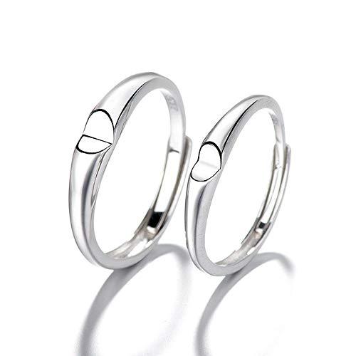 Anillo Ajustable De Plata 925 para Mujer,2Pcs Un Par Ring Personalidad Sencilla...