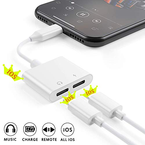 [Apple MFi Certified] 2 in 1 Dual Lightning iPhone Adapter & Splitter, Adapter Dual Converter Cable Headphone Music+Charge+Call+Volume Control Compatible for iPhone 11/11 Pro/XS/XR/X 8/7, iPad-iOS 13