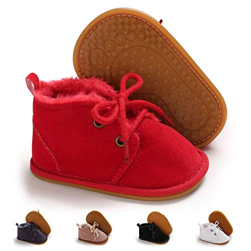 Infant Boots Winter Baby Girl Boy Shoes Rubber Sole Anti-Slip Toddler Snow Warm Prewalker Newborn Boots(0-6 Months M US Infant,A-red)