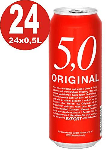 1 x 5.0 Original Export 24x0,5L Dosen 5,2% Vol Günstiges Dosenbier EINWEG
