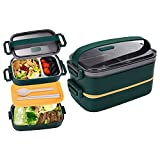 JUBOSYCZ Stainless Steel Multi Function Bento Box for Adults&Kids,Japanese Leakproof Lunch Box Divided Food Meal Storage Containers Set Stackable 2 Layer for Children School Picnic Green
