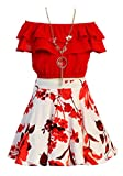 Cold Shoulder Crop Top Ruffle Layered Top Flower Girl Skirt Sets for Big Girl Red White 10 JKS 2130S