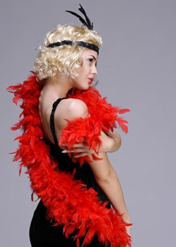 Deluxe 1920s Flapper Girl Fancy Dress Red Feather Boa