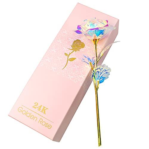 JustYit 24K Rosa Eterna Flores Artificiales con Caja de Regalo Mejor Regalo Regalo Madre, Rosa Eterna Flore para San Valentín, Día de la Madre, Aniversario, Boda, Cumpleaños, Decoración del Hogar