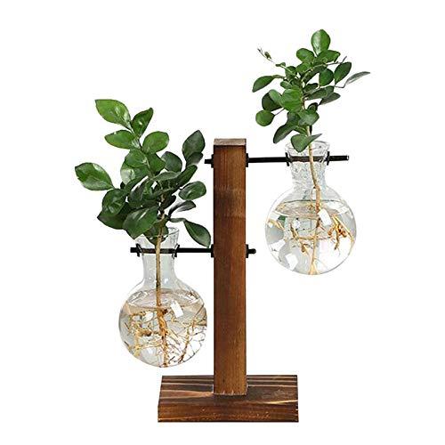 Jardinera de vidrio de escritorio, florero de bulbo de terrario de planta con soporte de madera, maceta de vidrio hidropónico de propagación, para decoración de boda, jardín, oficina en casa L:19.5cm