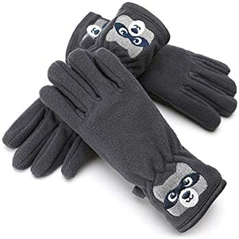 New Cartoon Bear Gloves Winter Embroidery Flannel Rubber Anti-Skid Outdoor Windproof and Warm Children's Gloves Gloves (Color : Age 2 5)