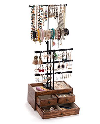 Organizador de joyas de 5 niveles QILICHZ, soporte de joyería de árbol de joyería de altura ajustable con cajones de madera para collares, pendientes, pulseras y anillos