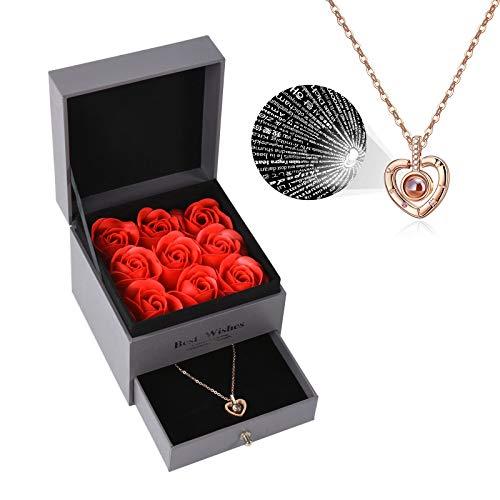 Collar con colgante de rosas estabilizadas con colgante Love You con 100 idiomas, regalo romántico hecho a mano para ella en San Valentín, Día de la Madre (rosa roja)