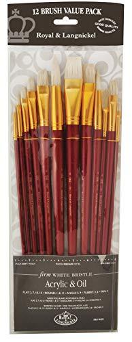 Royal & Langnickel RSET-9304 - Juego de pinceles de fibra de taklon (12 unidades, puntas variadas)