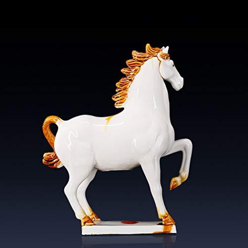 NYKK Ornamento de Escritorio Decoración Inicio Colección Caballos Caballo Blanco Figurita Decoración Decoración de colección de cerámica artesanías decoración