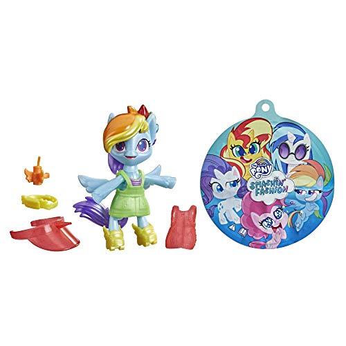 My little Pony F1758 Smashin' Fashion Schmetter-Pack Rainbow Dash – bewegliche Figur (7,5 cm) mit Modeaccessoires und Überraschung, 9 Teile