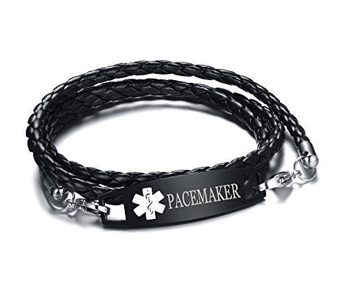 XUANPAI PACEMAKER Multilayer Braided Leather Bangle Medical Alert ID Bracelet for Womens Mens