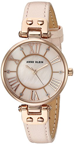 Anne Klein Women's Quartz Metal and Leather Dress Watch, Color:Pink