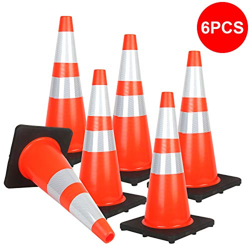 Reliancer 6PCS 28' Traffic Cones PVC Safety Road Parking Cones with Black Weighted Base w/6'&4' Reflective Collars Fluorescent Orange Hazard Cones Construction Cones for Traffic or Home Improvement