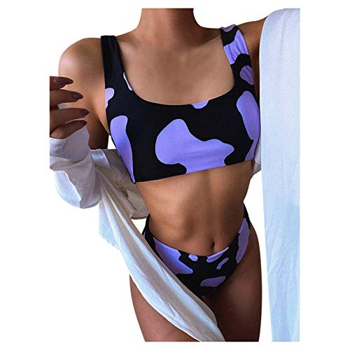Snakell Bikini para Mujer Traje de Dos Piezas Traje de Baño con Cuello Halter de Cintura Alta Traje de Baño con Estampado para Mujer, Conjunto de Bikini con Estampado de Vaca Brasileño Push-Up