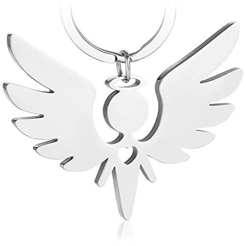 Premium Schutzengel Schlüsselanhänger von VULAVA - der edle Engel Anhänger u. Glücksbringer mit Herz ist die Geschenk Idee für Kinder Partner Führerschein Auto u. Motorrad Fahrer (Silber Glänzend)