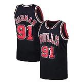 LDFN Jersey Baloncesto Camiseta De Baloncesto Masculino, Dennis Rodman # 91, Tejido Transpirable Y De Secado Rápido, Deportes Bordados Camiseta Sin Mangas S-XXL (Color : Black, Size : L)
