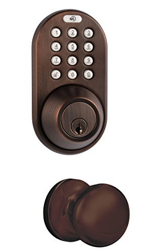MiLocks DFK-02OB Electronic Touchpad Entry Keyless Deadbolt and Passage Knob Combo, Oil Rubbed Bronze