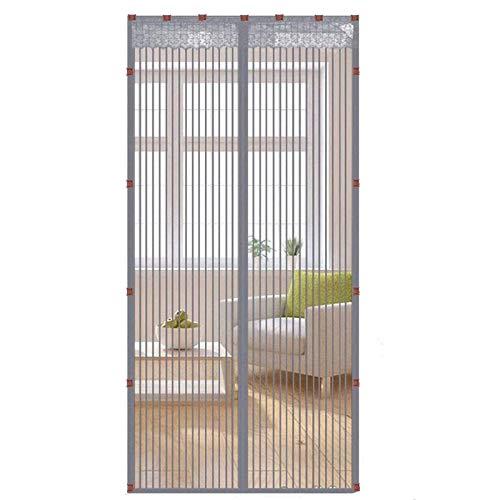 Mosquitera magnética para puerta de insectos, protección de malla de 5 colores, 20 tamaños, 8 días, fácil de usar, para puertas correderas de balcón, sala de estar (gris, 80 cm x 200 cm)