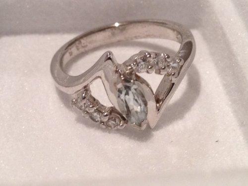 Aquamarine sterling silver Avon ring